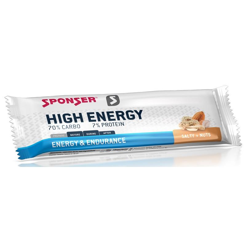 Baton energetyczny SPONSER HIGH ENERGY BAR solone orzeszki ziemne pudełko (30szt x 45g) (NEW)