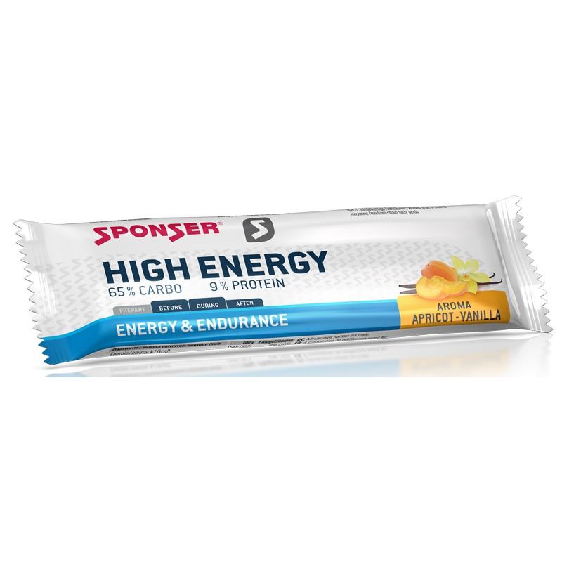 Baton energetyczny SPONSER HIGH ENERGY BAR morelowo-waniliowy (pudełko 30szt x 45g) (NEW)