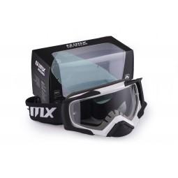 Gogle iMX Racing Dust White/Black Matt z Szybą Dark Smoke + Clear (2 szyby w zestawie)