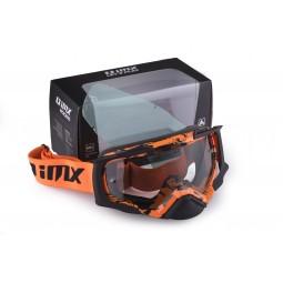 Gogle iMX Racing Dust Graphic Orange/Black Matt z Szybą Dark Smoke + Clear (2 szyby w zestawie)
